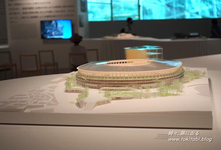 隈氏設計の国立競技場の全景模型も公開されていました